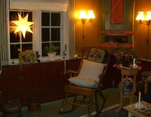 Heldigvis ingen frost inne! Jeg har kongerøkelse, blomstrende julekaktus, og masse lys, her representert med julestjerna i vinduet