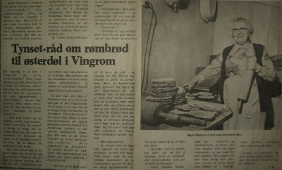 Mormor Sigrid holdt baketradisjonene i hevd. Her er hun i Hamar Arbeiderblad, 15. desember 1974. Hvis du kan lese artikkelen, får du oppskrift på rømmebrød