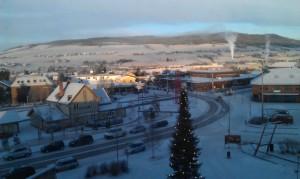 Tynset sentrum er også julepyntet
