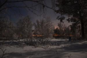 Det er ikke brann, men lyset fra Tynsetbyen. Litt uskarpt, tatt på frihånd