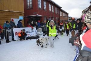 Crewet følger hundene inn til startområdet - etterpå må kjøreren greie alt selv