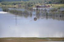 Noen hus står i vann også her