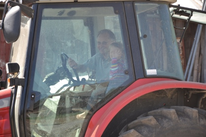 En liten gjest er så heldig at hun får med sin morfar på en traktortur! Stor glede for dem begge