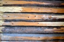 Tømmervegg etter fjerning av ull