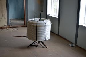 Gulvvarmerørene er klare for å legges