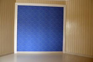 Listing - her rundt den tapetsert veggen på soverommet og på gulvet