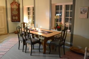 Vårt gamle kjøkkenbord passer godt inn. Stolene som kommer fra en auksjon på Kvikne, og var eierens svennestykke, er utrolig gode å sitte på. De passer kanskje ikke helt inn sammen med bordet, rent stilmessig, men pytt!